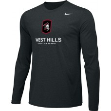 West Hills Christian 14: Youth-Size - Nike Team Legend Long-Sleeve Crew T-Shirt - Black