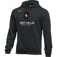 West Hills Christian 18: Adult-Size - Nike Team Club Fleece Training Hoodie (Unisex) - Black