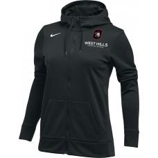 West Hills Christian 21: Nike Women's Therma All-Time Hoodie Full Zip - Black